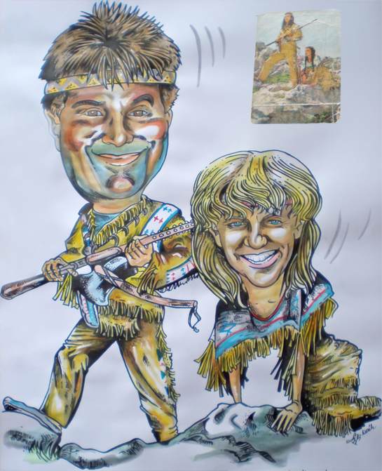 Akvarel Perokresba Karikatura